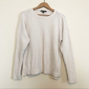 Ann Taylor White Wool Alpaca Cable Knit Sweater